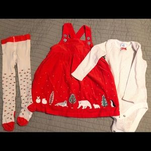Mini Boden Dresses - Baby Boden Red corduroy dress, shirt & tights